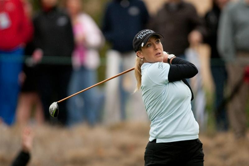 DANVILLE, CA - OCTOBER 17: Cristie Kerr follows through on a tee shot during the final round of the CVS/Pharmacy LPGA Challenge at Blackhawk Country Club on October 17, 2010 in Danville, California. (Photo by Darren Carroll/Getty Images)