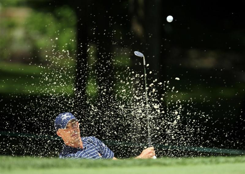DUBLIN, OH - JUNE 03:  Jonathan Byrd hits his second shot on the 8th hole during the first round of The Memorial Tournament presented by Morgan Stanley at Muirfield Village Golf Club on June 3, 2010 in Dublin, Ohio.  (Photo by Andy Lyons/Getty Images)