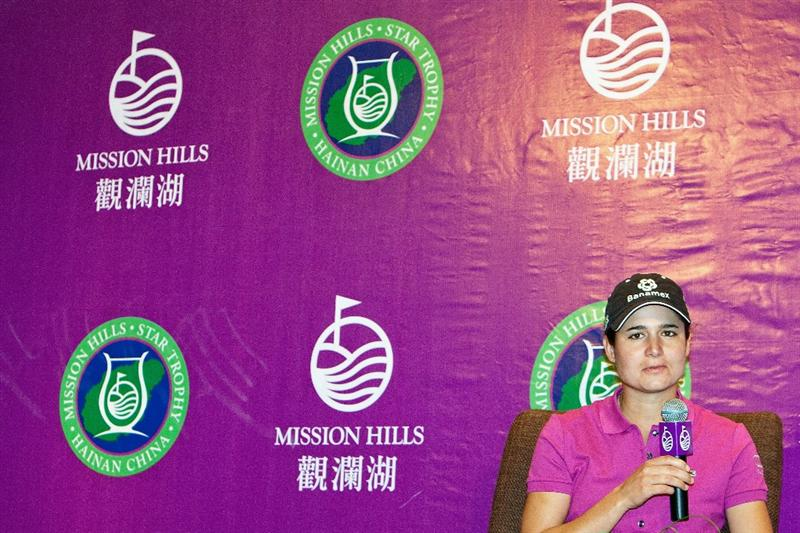 HAIKOU, CHINA - OCTOBER 29: Former golf world number one Lorena Ochoa of Mexico attends a press conference during the Mission Hills Star Trophy tournament at Mission Hills Resort on October 29, 2010 in Haikou, China. The Mission Hills Star Trophy is Asia's leading leisure liflestyle event which features Hollywood celebrities and international golf stars.  (Photo by Athit Perawongmetha/Getty Images for Mission Hills)