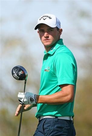 SCOTTSDALE, AZ - FEBRUARY 26: Sam Saunders watches his tee shot on the ninth hole during the second round of the Waste Management Phoenix Open at TPC Scottsdale on February 26, 2010 in Scottsdale, Arizona. (Photo by Hunter Martin/Getty Images)