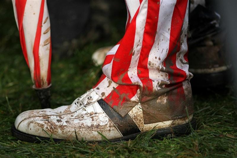 NEWPORT, WALES - OCTOBER 01:  General detail of a golf fan's muddy attire during the Morning Fourball Matches during the 2010 Ryder Cup at the Celtic Manor Resort on October 1, 2010 in Newport, Wales.  (Photo by Jamie Squire/Getty Images)