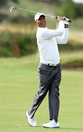 CARNOUSTIE, SCOTLAND - OCTOBER 01:  American football legend Marcus Allen plays his second shot to the 15th green during the first round of The Alfred Dunhill Links Championship at Carnoustie Golf Club on October 1, 2009 in Carnoustie, Scotland. (Photo by David Cannon/Getty Images