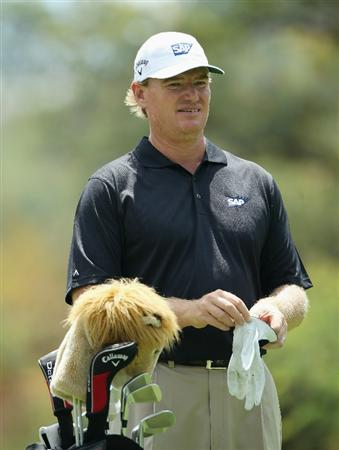 SUN CITY, SOUTH AFRICA - DECEMBER 01:  Ernie Els of South Africa looks on from the second hole during the pro-am for the 2010 Nedbank Golf Challenge at the Gary Player Country Club Course  on December 1, 2010 in Sun City, South Africa.  (Photo by Warren Little/Getty Images)