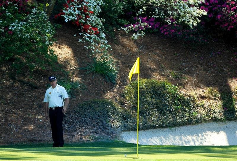 AUGUSTA, GA - APRIL 07:  Lee Westwood of England watches a putt on the 12th hole during the first round of the 2011 Masters Tournament at Augusta National Golf Club on April 7, 2011 in Augusta, Georgia.  (Photo by David Cannon/Getty Images)