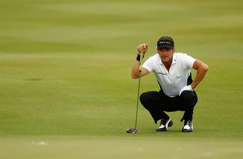 RIO GRANDE, PR - MARCH 12:  Jesper Parnevik lines up a putt on the sixth hole during the first round of the 2009 Puerto Rico Open presented by Banco Popular on March 12, 2009 at the Trump International Golf Club in Rio Grande, Puerto Rico.  (Photo by Mike Ehrmann/Getty Images)