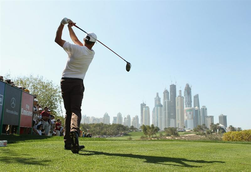 DUBAI, UNITED ARAB EMIRATES - FEBRUARY 12:  Anders Hansen of Denmark in action during the third round for the 2011 Omega Dubai desert Classic held on the Majilis Course at the Emirates Golf Club on February 12, 2011 in Dubai, United Arab Emirates.  (Photo by Ian Walton/Getty Images)