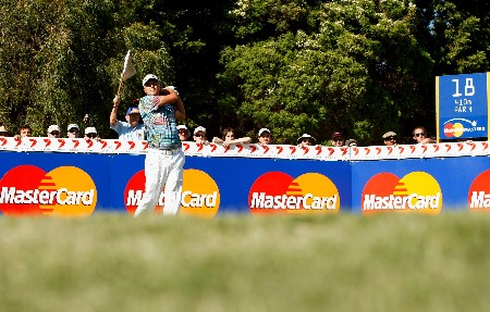 MELBOURNE, AUSTRALIA - NOVEMBER 25: Daniel Chopra of Sweden hits off the 18th tee during round four of the MasterCard Masters at Huntingdale Golf Course on November 25, 2007 in Melbourne, Australia.  (Photo by Robert Cianflone/Getty Images)