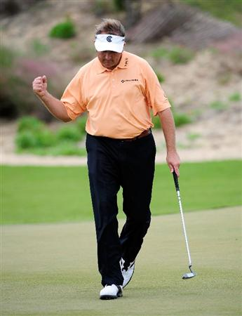 PALM COAST, FL - NOVEMBER 02:  Ken Duke reacts to a birdie putt on the 10th hole during the final round of the Ginn sur Mer Classic at the Conservatory Golf Club on November 2, 2008 in Palm Coast, Florida.  (Photo by Sam Greenwood/Getty Images)