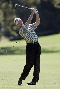 Brad Faxon hits his approach shot on the 13th hole during the second round of the Southern Farm Bureau Classic at Annandale Golf Club in Madison, Mississippi, on September 29, 2006. Photo by Hunter Martin/WireImage.com
