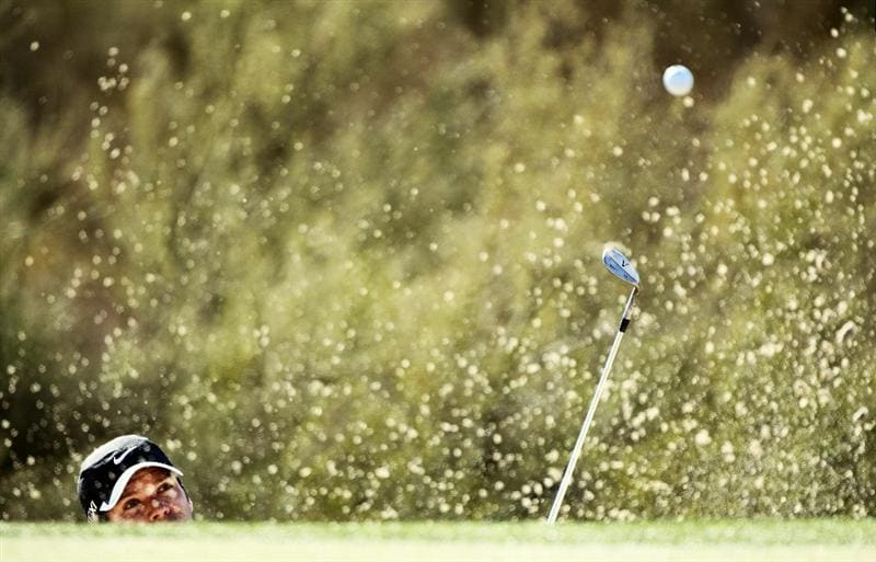 MARANA, AZ - FEBRUARY 24:  Paul Casey of England hits his third shot on the first hole from a bunker during the second round of the Accenture Match Play Championship at the Ritz-Carlton Golf Club on February 24, 2011 in Marana, Arizona.  (Photo by Andy Lyons/Getty Images)