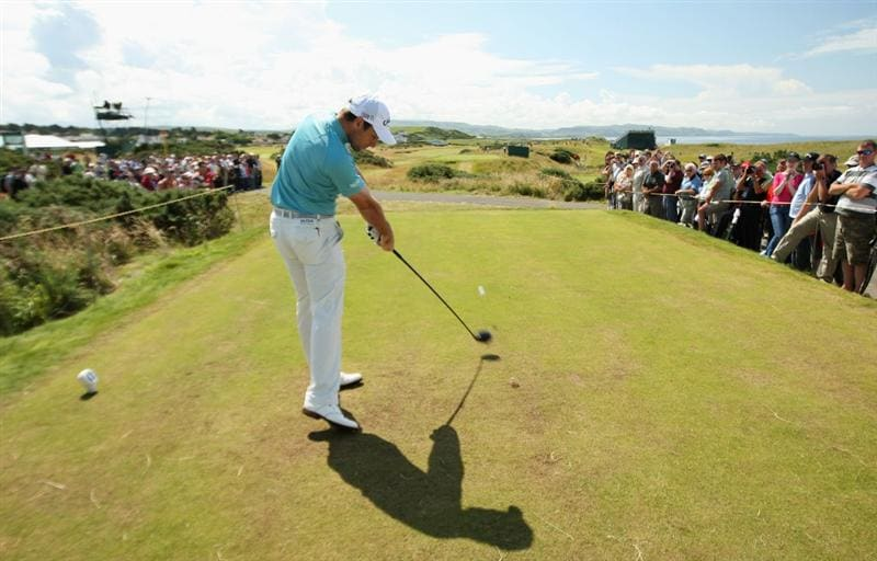 TURNBERRY, SCOTLAND - JULY 15:  Oliver Wilson of England tees off during a practice round prior to the 138th Open Championship on the Ailsa Course, Turnberry Golf Club on July 15, 2009 in Turnberry, Scotland.  (Photo by Ross Kinnaird/Getty Images)