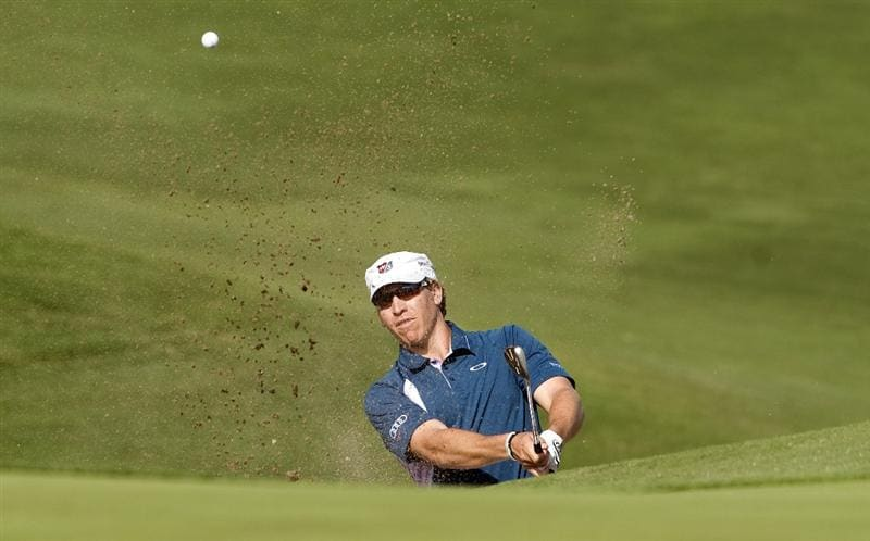 LAS VEGAS, NV - OCTOBER 23: Ricky Barnes hits a shot out of the sand trap on the 15th hole during the third round of the Justin Timberlake Shriners Hospitals for Children Open on October 23, 2010 in Las Vegas, Nevada. (Photo by Steve Dykes/Getty Images)
