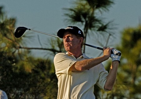 Jeff Hart hits from the 18th tee  during first round competition at the 2005 Honda Classic March 10, 2005 in Palm Beach Gardens, Florida.