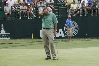 Allen Doyle reacts after missing a birdie putt on hole 16 during the third round of the U.S. Senior Open at Prairie Dunes Country Club in Hutchinson,  Kansas on July 8, 2006.Photo by G. Newman Lowrance/WireImage.com