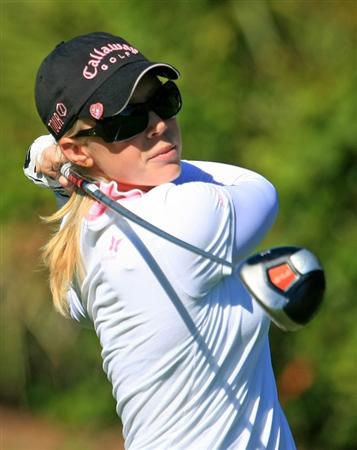 WEST PALM BEACH, FL - NOVEMBER 20:  Morgan Pressel hits her tee shot on the third hole during the first round of the ADT Championship at the Trump International Golf Club on November 20, 2008 in West Palm Beach, Florida.  (Photo by Scott Halleran/Getty Images)