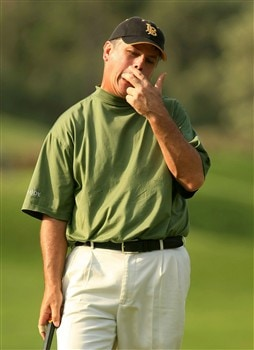 PONTE VEDRA BEACH, FL - MAY 11:  Paul Goydos reacts to his missed par putt on the 14th hole during the final round of THE PLAYERS Championship on THE PLAYERS Stadium Course at TPC Sawgrass on May 11, 2008 in Ponte Vedra Beach, Florida.  (Photo by Scott Halleran/Getty Images)