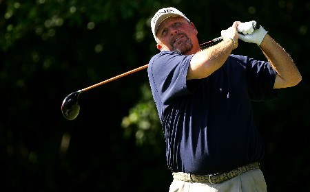 PALM BEACH GARDENS, FL - MARCH 02:  Mark Calcavecchia hits a shot on the 3rd hole during the final round of the Honda Classic at PGA National Resort and Spa on March 2, 2008 in Palm Beach Gardens, Florida.  (Photo by Sam Greenwood/Getty Images)