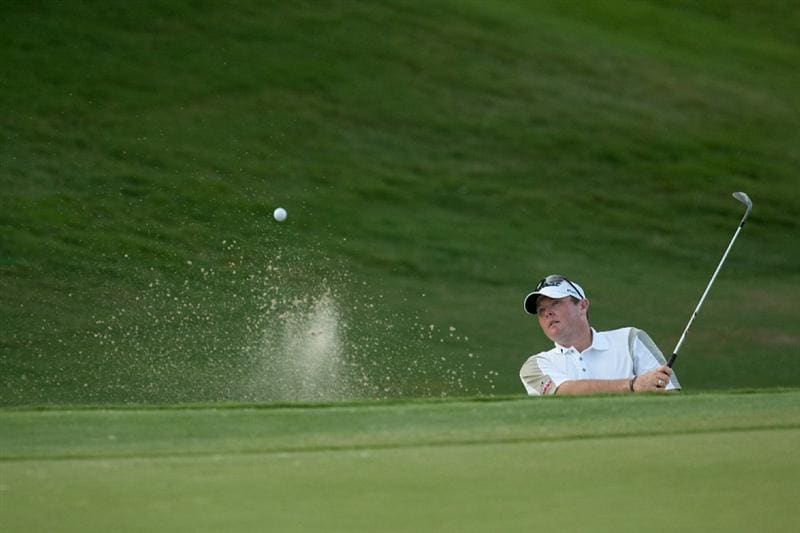 IRVING, TX - MAY 20: Jarrod Lyle of Australia plays a bunker shot during the first round of the HP Byron Nelson Championship at TPC Four Seasons Resort Las Colinas on May 20, 2010 in Irving, Texas. (Photo by Darren Carroll/Getty Images)