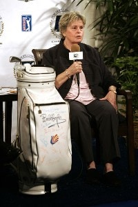 Linda Hope, Bob Hope's daughter hosts a news conference where The World Golf Hall of Fame announced the 'Bob Hope: Shanks for the Memory' exhibit during the Bob Hope Chrysler Classic on January 15, 2008 at the Classic Club in Palm Desert, California. World Golf Hall of Fame Announcement - January 15, 2008Photo by Robert Laberge/WireImage.com