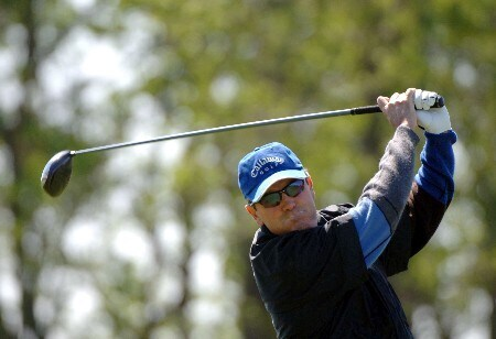 Mark McNulty drives from the second  tee  during the final  round of    the 2005 Liberty Mutual Legends of Golf tournament, April 24, in Savannah.Photo by Al Messerschmidt/WireImage.com