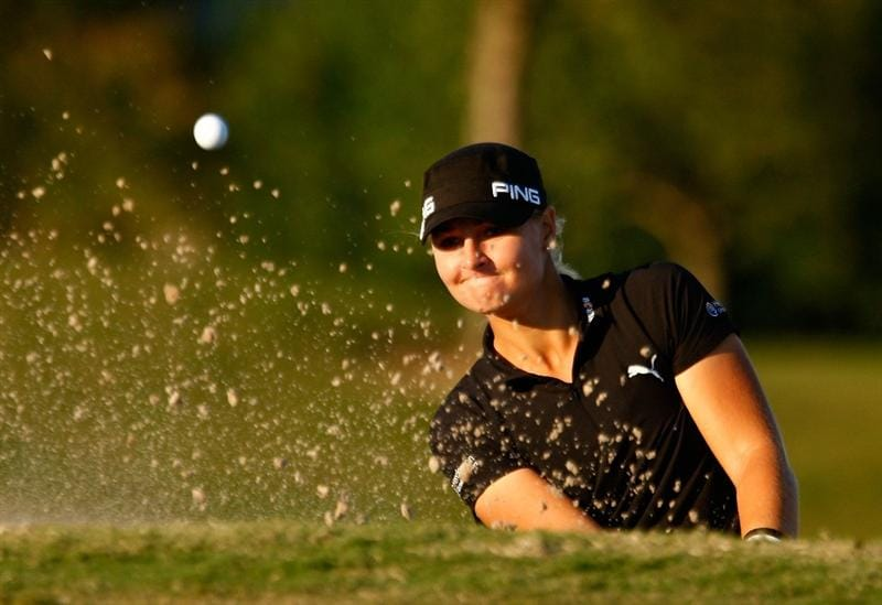 RICHMOND, TX - NOVEMBER 23:  Anna Nordqvist of Sweden plays a bunker shot on the 17th hole during the final round of the LPGA Tour Championship presented by Rolex at the Houstonian Golf and Country Club on November 23, 2009 in Richmond, Texas.  (Photo by Scott Halleran/Getty Images)