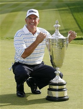 ROCHESTER, NY - MAY 25: Jay Haas poses with the Alfred S. Bourne trophy after winning the 69th Senior PGA Championship at Oak Hill Country Club - East Course on May 25, 2008 in Rochester, New York. (Photo by Hunter Martin/Getty Images)