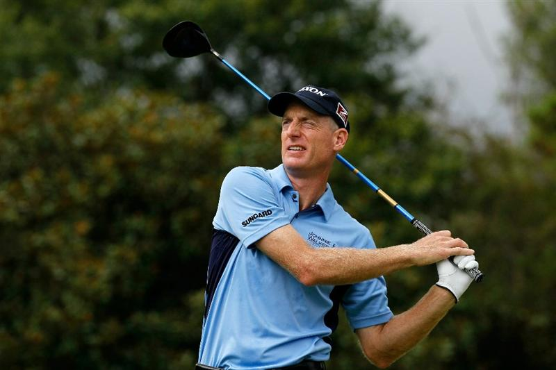 ATLANTA - SEPTEMBER 26:  Jim Furyk tees off the fifth hole during the final round of THE TOUR Championship presented by Coca-Cola at East Lake Golf Club on September 26, 2010 in Atlanta, Georgia.  (Photo by Kevin C. Cox/Getty Images)