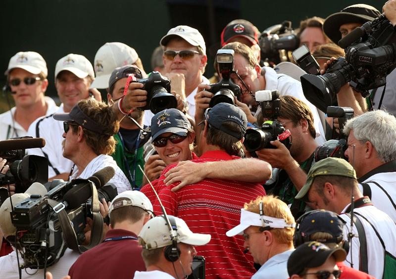 LOUISVILLE, KY - SEPTEMBER 21:  USA team captain Paul Azinger celebrates with Hunter Mahan after the USA won the Ryder Cup during the final day of the 2008 Ryder Cup at Valhalla Golf Club on September 21, 2008 in Louisville, Kentucky.  (Photo by David Cannon/Getty Images)