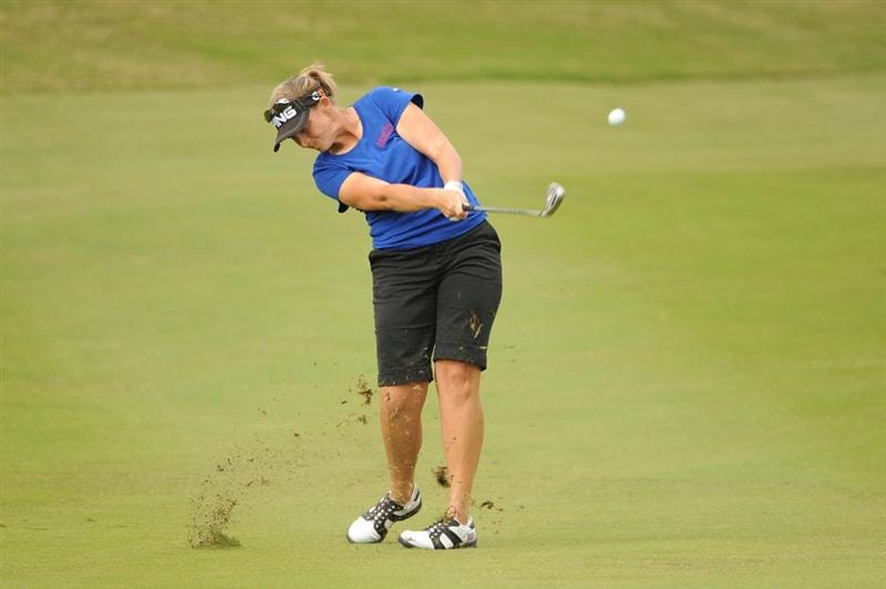 WEST PALM BEACH, FL - NOVEMBER 23:  Angela Stanford hits her approach to number three during the final round of the ADT Championship at the Trump International Golf Club on November 23, 2008 in West Palm Beach, Florida.  (Photo by Montana Pritchard/Getty Images)