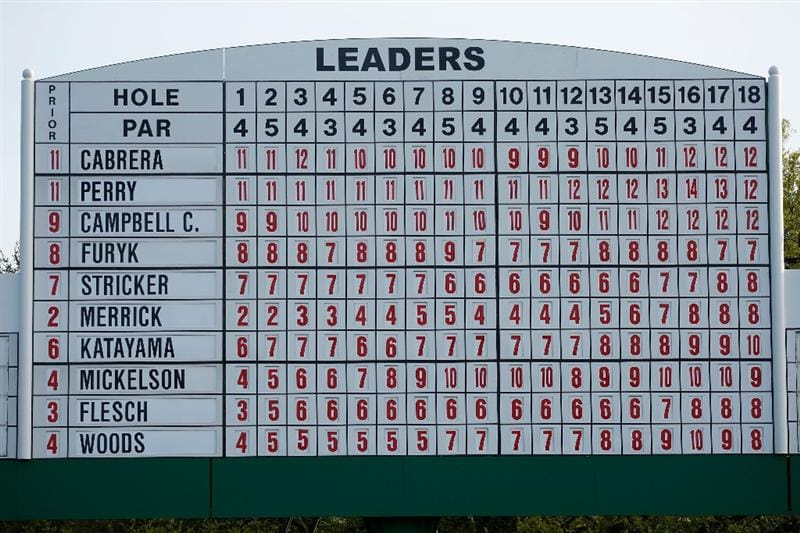 AUGUSTA, GA - APRIL 12:  The leaderboard on the 18th hole is seen at the end of the final round of the 2009 Masters Tournament at Augusta National Golf Club on April 12, 2009 in Augusta, Georgia.  (Photo by Jamie Squire/Getty Images)