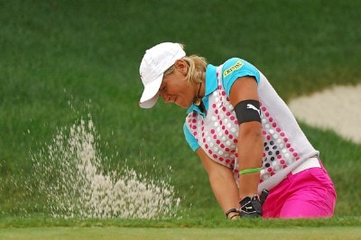 Nicole Perrot blasts out of the greenside bunker on the 2nd hole during the final round of the LPGA, Inaugural, Ginn Open on Sunday, April 30, 2006 at the Reunion Resort and Club in Reunion, Florida.Photo by Marc Feldman/WireImage.com