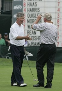 John Harris birdies the first playoff hole to beat Tom Jenkins and win the tournament after the third and final round of the Commerce Bank Championship on the Red Course at Eisenhower Park  in East Meadow, New York on June 25, 2006.Photo by Michael Cohen/WireImage.com