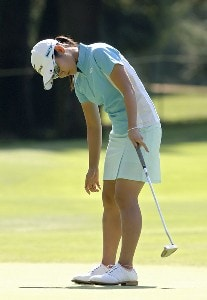 Ai Miyazato  putts on the 14th green during the second round of the Safeway Classic at Columbia-Edgewater Country Club in Portland, Oregon on August 19, 2006.Photo by Al Messerschmidt/WireImage.com