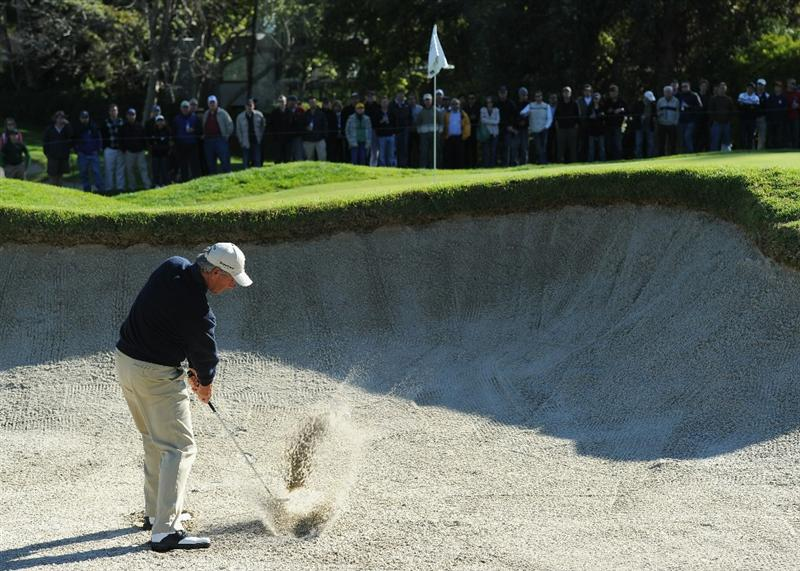 PACIFIC PALISADES, CA - FEBRUARY 20:  Fred Couples plays his bunker shot on the 16th hole during the final round of the Northern Trust Open at Riviera Country Club on February 20, 2011 in Pacific Palisades, California.  (Photo by Stuart Franklin/Getty Images)