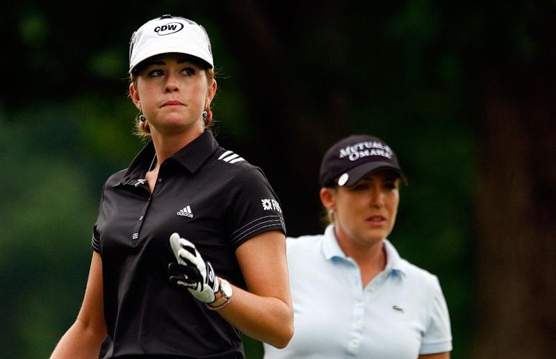 BETHLEHEM, PA - JULY 11:  Paula Creamer and Cristie Kerr watch a shot on the fourth tee during the third round of the 2009 U.S. Women's Open at the Saucon Valley Country Club on July 11, 2009 in Bethlehem, Pennsylvania.  (Photo by Scott Halleran/Getty Images)