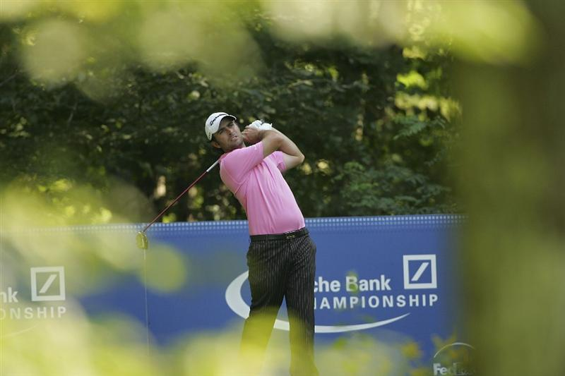 NORTON, MA - SEPTEMBER 04:  Mathew Goggin of Australia hits a drive during the first round of the Deutsche Bank Championship at TPC Boston held on September 4, 2009 in Norton, Massachusetts.  (Photo by Michael Cohen/Getty Images)