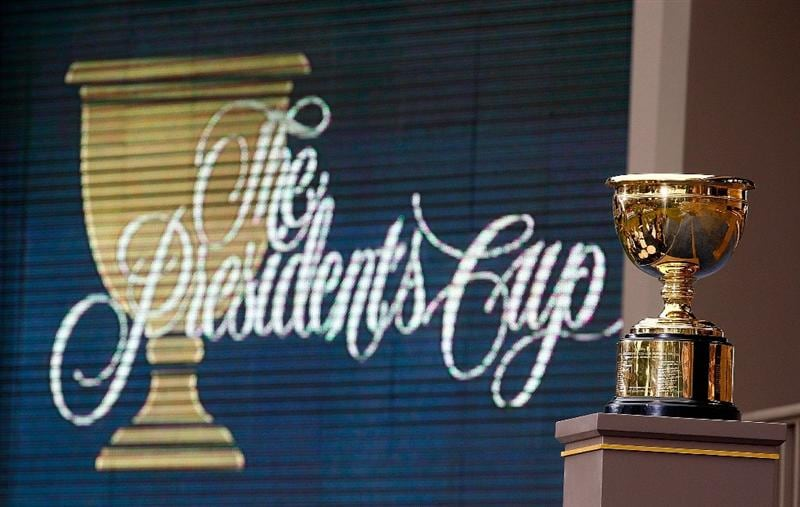 SAN FRANCISCO - OCTOBER 11:  A general-view of the Presidents Cup on stage at the closing ceremonies after the USA defeated the International Team 19.5 to 14.5 to win The Presidents Cup at Harding Park Golf Course on October 11, 2009 in San Francisco, California.  (Photo by Scott Halleran/Getty Images)