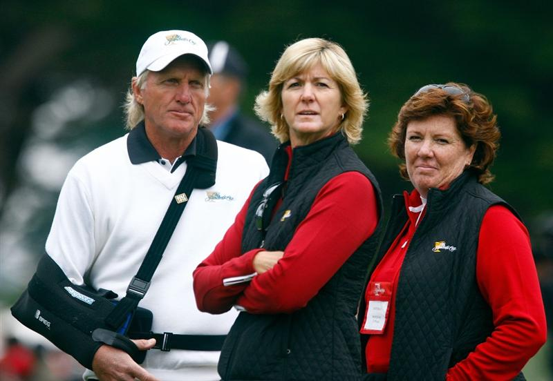 SAN FRANCISCO - OCTOBER 10:  Captain Greg Norman of the International Team watches play along with Beth Daniel and Meg Mallon on the fifth hole during the Day Three Afternoon Fourball Matches of The Presidents Cup at Harding Park Golf Course on October 10, 2009 in San Francisco, California.  (Photo by Scott Halleran/Getty Images)