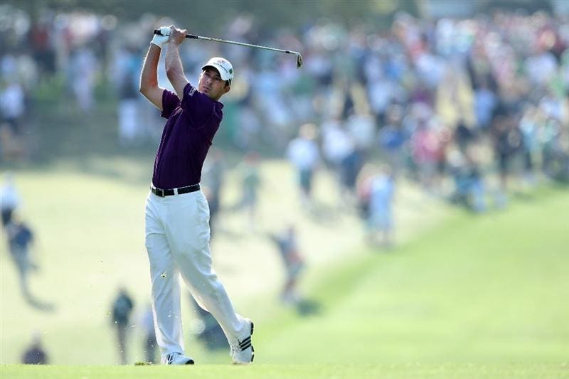 AUGUSTA, GA - APRIL 08:  Mike Weir of Canada plays his second shot on the first hole during the first round of the 2010 Masters Tournament at Augusta National Golf Club on April 8, 2010 in Augusta, Georgia.  (Photo by Andrew Redington/Getty Images)