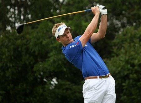 IRVING, TX - APRIL 24:  Luke Donald of England hits his tee shot on the 15th hole during the first round of the EDS Byron Nelson Championship at TPC Four Seasons Resort Las Colinas April 24, 2008 in Irving, Texas.  (Photo by Stephen Dunn/Getty Images)