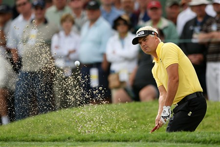 SAN DIEGO - JUNE 12:  Daniel Chopra of Sweden watches his bunker shot on the 11th hole during the first round of the 108th U.S. Open at the Torrey Pines Golf Course (South Course) on June 12, 2008 in San Diego, California.  (Photo by Donald Miralle/Getty Images)