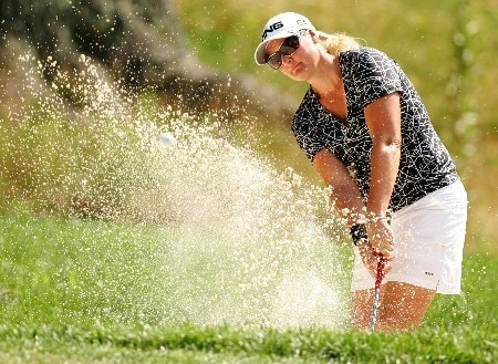 NEW ROCHELLE, NY - JULY 20:  Maria Hjorth of Sweden hits from the bunker on the 4th hole during the second round of the HSBC Women's World Match Play at Wykagyl Country Club on July 20, 2007 in New Rochelle, New York. (Photo by Sam Greenwood/Getty Images)