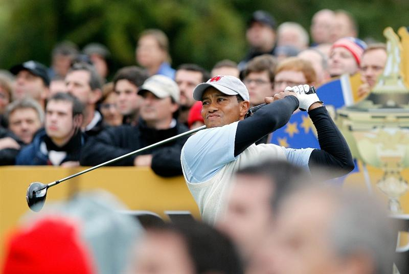 NEWPORT, WALES - OCTOBER 01:  Tiger Woods of the USA tees off during the Morning Fourball Matches during the 2010 Ryder Cup at the Celtic Manor Resort on October 1, 2010 in Newport, Wales.  (Photo by Sam Greenwood/Getty Images)