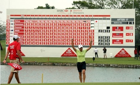 SINGAPORE - MARCH 02:  Lorena Ochoa of Mexico  celebrates after the final round of the HSBC Women's Champions at the Tanah Merah Country Club on March 2, 2008 in Singapore.  (Photo by Ross Kinnaird/Getty Images)