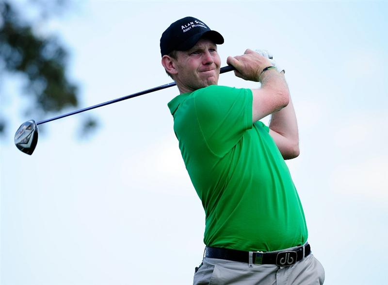 MADRID, SPAIN - MAY 30:  Stephen Gallacher of Scotland plays his tee shot on the 16th hole during the final round of the Madrid Masters at Real Sociedad Hipica Espanola Club De Campo on May 30, 2010 in Madrid, Spain.  (Photo by Stuart Franklin/Getty Images)