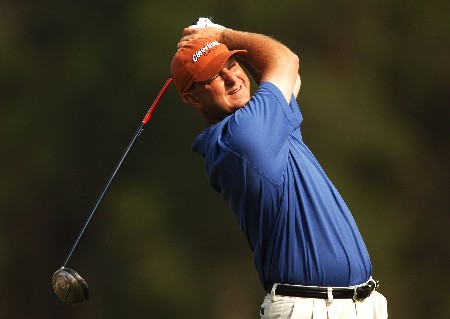 Wes Short Jr. hits from the 12th tee during the first round of the 2005 Shell Houston Open at the Redstone Golf Club in Houston, Texas April 21, 2005.Photo by Steve Grayson/WireImage.com