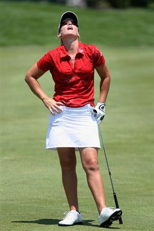 SPRINGFIELD, IL - JUNE 05:  Kristy McPherson reacts after her second shot on the seventh hole during the second round of the LPGA State Farm Classic golf tournament at Panther Creek Country Club on June 5, 2009 in Springfield, Illinois.  (Photo by Christian Petersen/Getty Images)