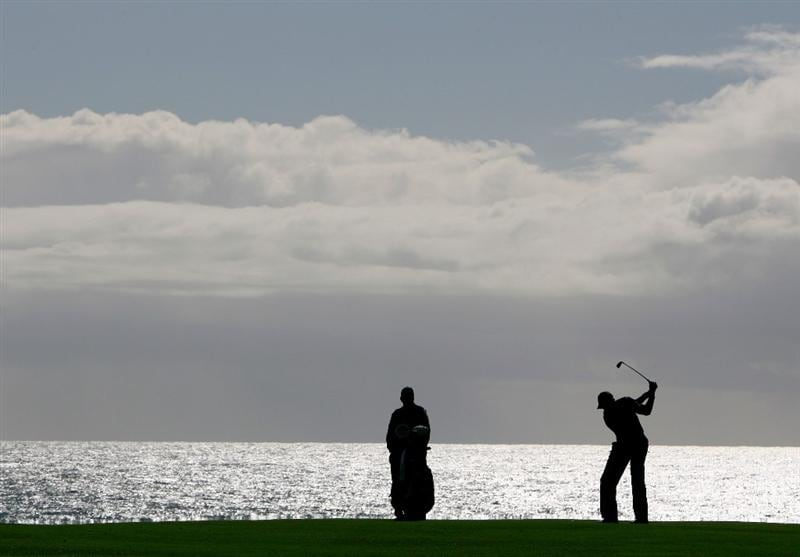PEBBLE BEACH, CA - FEBRUARY 13:  Brendon Todd hits his second shot on the eighth hole during the second round of the AT&T Pebble Beach National Pro-Am at the Pebble Beach Golf Links on February 13, 2009 in Pebble Beach, California.  (Photo by Jeff Gross/Getty Images)