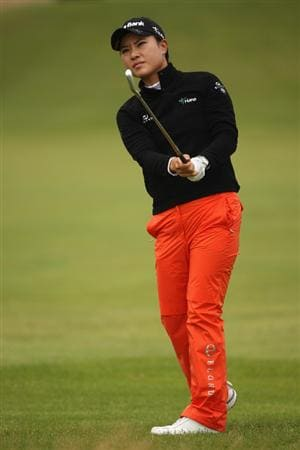 LYTHAM ST ANNES, ENGLAND - AUGUST 01:  Hee Young Park of Korea hits her second shot on the 3rd hole during the third round of the 2009 Ricoh Women's British Open Championship held at Royal Lytham St Annes Golf Club, on August 1, 2009 in Lytham St Annes, England.  (Photo by Warren Little/Getty Images)