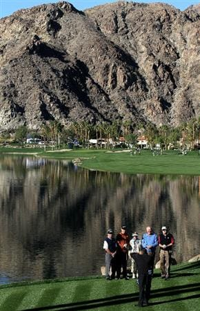 LA QUITNA, CA - JANUARY 23: Bob Estes (2nd from L) poses for a photo with his amnateur playing partners before teeing off on the 10th hole on the Palmer Private course at PGA West during the third round of the Bob Hope Classic on January 23, 2010 in La Quinta, California. (Photo by Stephen Dunn/Getty Images)